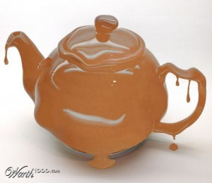 Melting chocolate teapot